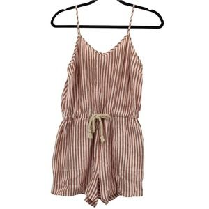 Thread & Supply Rosewood Striped Linen Romper Elastic Waist Red White S